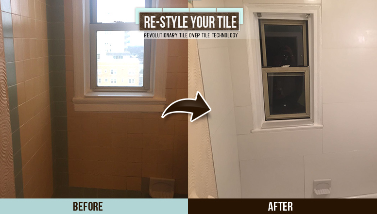 Before and After Picture of a Tile Over Tile Shower Transformation in Asbury, New Jersey